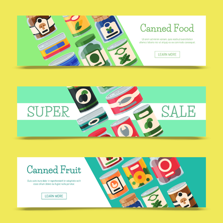 Canned food sale banner vector illustration. Vegetable product tinned container metal packaging. Soup conserve package can. Healthy goods grocery meal. Canning tinned steel lid shop vegetarian poster