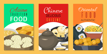 Chinese street, restaurant or homemade food ethnic menu cards vector illustration. Asian dinner dish plate. Traditional spicy appetizer snack poster. China cooking market or food festival culture.
