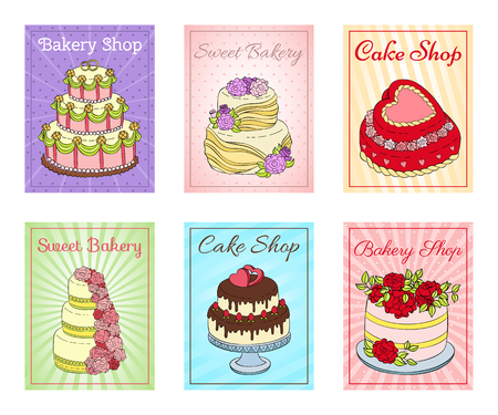 Cake shop set of cards vector illustration. Chocolate and fruity desserts for sweet shop with fresh and tasty cupcakes, cakes, pudding, whipped cream, glaze and sprinkles.