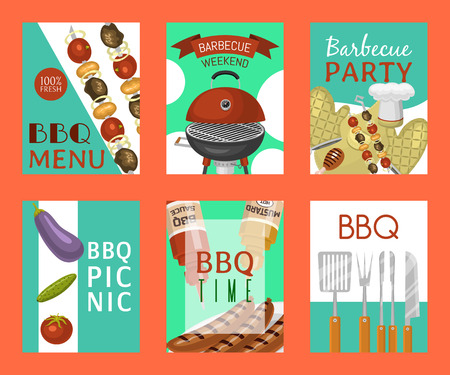 Barbeque picnic party cards meat steak roasted on round hot barbecue grill vector illustration. Bbq in park, banner design template. Grilled food menu poster. Homemade recipe card cookbook cover.