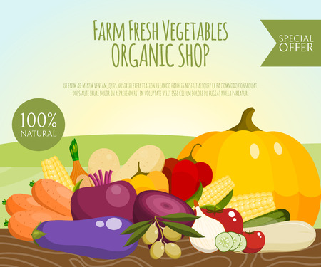 Farm fresh vegetables banner vector illustration. Food market. Vegetarian, natural products. Healthy lifestyle. Includes pepper, tomato, potato, carrot, beet. Organic shop.