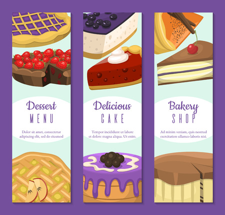 Cake shop set of banners or cards vector illustration. Chocolate and fruity desserts for cake shop with cupcakes, cakes, pudding, berry biscuits, whipped cream, beries glaze and sprinkles. Stock Vector - 124008452