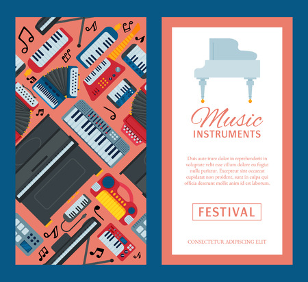Music keyboard instrument playing synthesizer equipment banner design vector illustration. Harmony performance entertainment electric piano poster. Instrumental song orchestra guitar. Illustration