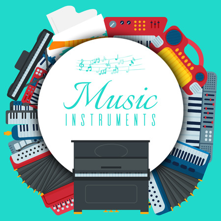 Music keyboard instrument playing synthesizer equipment vector illustration. Harmony performance entertainment electric piano poster. Instrumental song orchestra guitar.