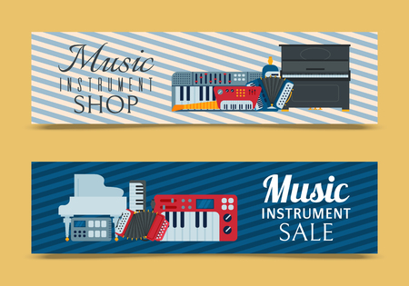 Music keyboard instrument playing synthesizer equipment banner design vector illustration. Harmony performance entertainment electric piano poster. Instrumental song orchestra guitar Illustration