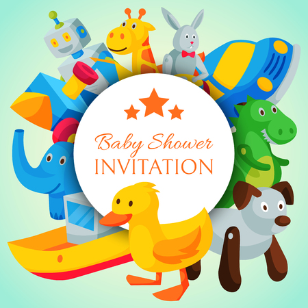 Vintage retro clockwork toy robot baby shower invitation concept vector illustration. Antique key machine robotic childhood plaything mechanism. Robotic cute movement greeting card celebrate. 版權商用圖片 - 122507719