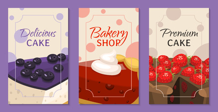 Baking shop menu cards vector illustration. Chocolate and fruity desserts for sweet cake shop with cupcakes, bakery cakes, berry pudding, biscuits, whipped cream, beries glaze Çizim