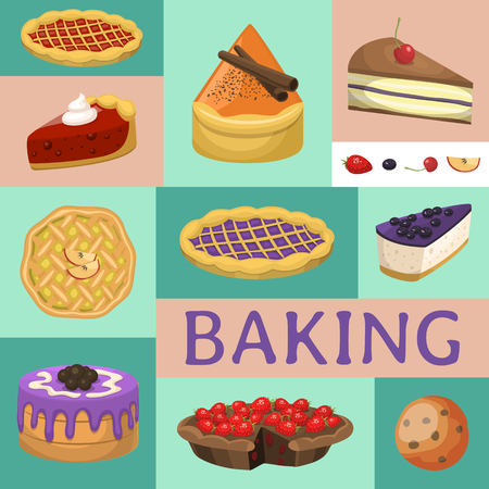 Baking shop menu vector illustration. Chocolate and fruity desserts for sweet cake shop with cupcakes, bakery cakes, berry pudding, biscuits, whipped cream, beries glaze