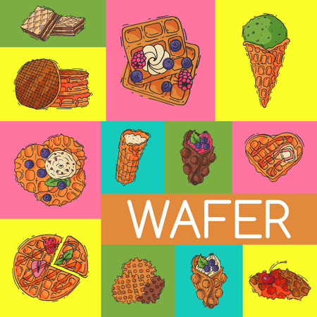 Crispy wafer poster chocolate cream flavor belgian dessert cookie vector illustration. Sweet food snack biscuit with cream. Waffle tasty pastry bakery delicious confectionery caramel. 向量圖像