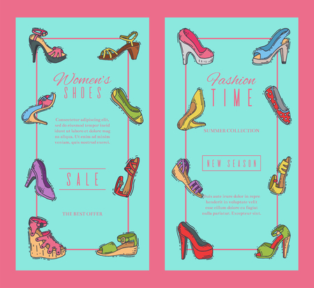 Woman shoes elegant high pair footwear banner vector illustration. Stiletto fashionable girl heel poster. Trend different style legs accessory background.