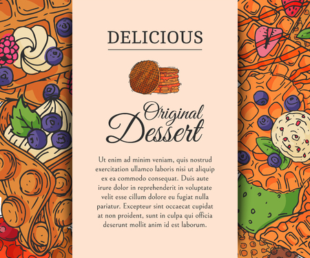 Crispy wafer poster chocolate cream flavor belgian original dessert cookie vector illustration. Sweet food snack biscuit with cream. Waffle tasty pastry bakery delicious confectionery caramel. Ilustração