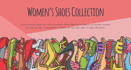 Woman shoes collection elegant high pair footwear vector illustration. Stiletto fashionable girl heel poster. Trend different style legs accessory background.