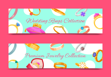 Wedding rings gold and silver metal vector illustration. Jewelry diamond ceremony gemstone present. Fashion precious accessory banner. Marriage couple relationship romance celebration background.