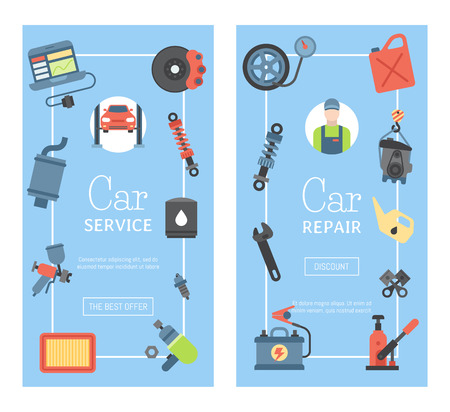 Car repair station banner mechanic vehicle auto garage service vector illustration. Transportation technician mechanical inspection engine shop.