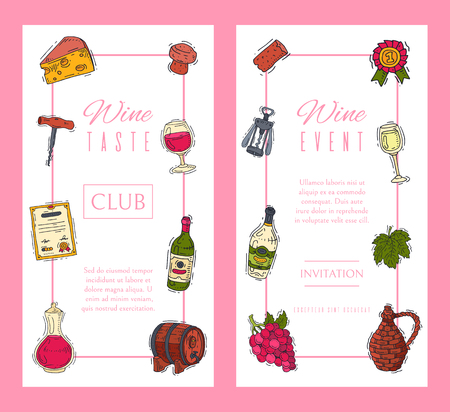 Wine taste club banner vector illustrations glass wine grape bottle. Tasting events menu. Vector alcohol drink background traditional food champagne. Wineglass business celebrate invitation card.