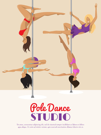 Woman pole dancing studio poster sexy female vector illustration. Professional sensuality human strong performance gymnastics lady. Dancer girls fitness pose exercising poledance school club. Ilustracja
