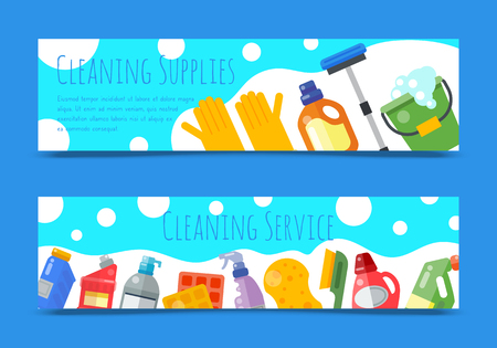 Cleaning supplies banner household bottle plastic liquid detergent product vector illustration. Cleaner disinfect equipment packaging. Cleanup care housekeeping fluid container. Housework tools. Ilustracja