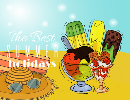 Ice cream summer holidays poster natural fresh and cold sweet food vector illustration. Healthy homemade tasty dairy cone delicious strawberry vanilla gelato frozen icecream. Dessert fruit