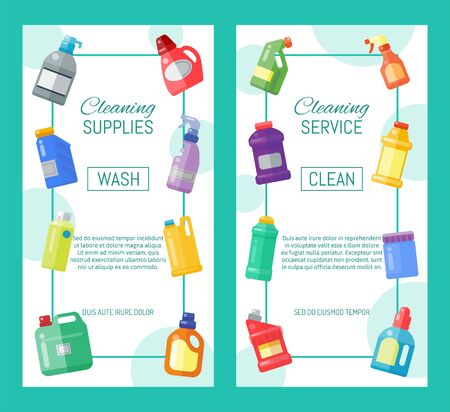 Cleaning supplies banner household bottle plastic liquid detergent product vector illustration. Cleaner disinfect equipment packaging. Cleanup care housekeeping fluid container. Housework tools flyer. Ilustracja