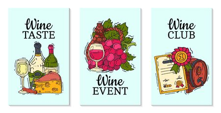 Wine taste club cards vector illustrations glass wine grape bottle. Tasting events menu. Vector alcohol drink background traditional food champagne. Wineglass business celebrate invitation.