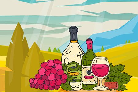 Wine table with snacks mountains nature landscape vector illustrations glass of wine grape bottle. Tasting events menu. Vector alcohol drink background traditional food champagne.