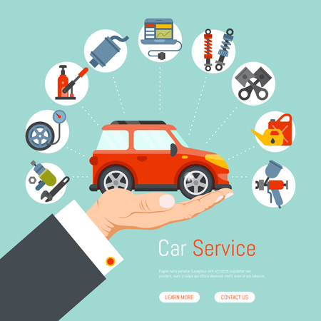 Car garage service repair station banner mechanic vehicle auto on hand concept vector illustration. Transportation technician mechanical inspection engine shop. Automotive servicing equipment flyer.