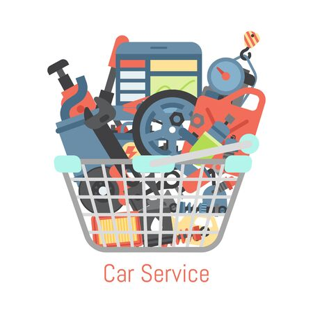 Car repair station basket mechanic vehicle auto garage service vector illustration. Transportation technician mechanical inspection engine shop.