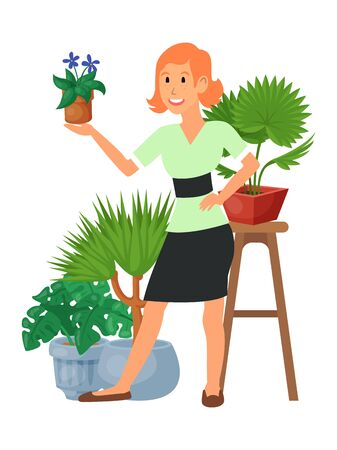 House florist woman flowers indoor floriculture vector illustration. Nature home decoration gardening. Indoor plants in flowerpot beauty decorative flora. Minimal foliage exotic garden houseplant and girl.