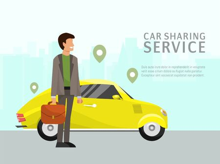 Car sharing landing page online transportation concept vector illustration. People use website to order online transportation car based on GPS. Man near urban auto design.