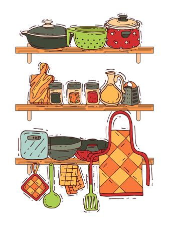 Cooking shelf equipment vector kitchenware or cookware for food with kitchen utensil cutlery and plate illustration. Dishware and frying-pan or pot househol culinary background. House appliance.