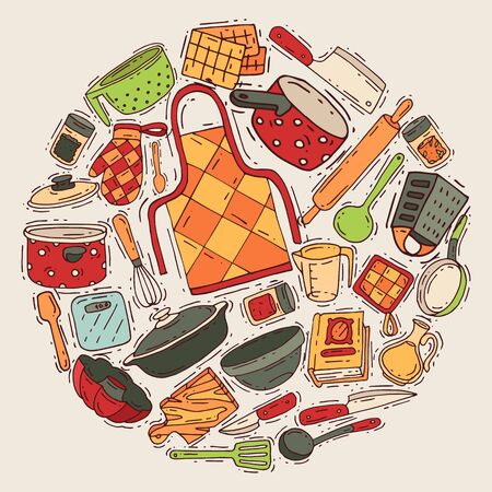 Cooking equipment round pattern vector kitchenware or cookware for food with kitchen utensil cutlery and plate illustration. Dishware and frying-pan househol culinary background. House appliance.