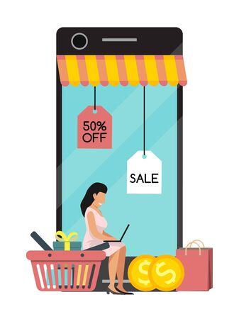 Shopping woman mobile online on website or mobile application vector concept marketing and digital marketing. Smartphone market customer service delivery. Screen purchase.