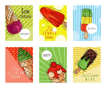 Ice cream cards summer natural fresh and cold sweet food vector illustration. Healthy homemade tasty dairy cone delicious strawberry vanilla gelato frozen icecream. Dessert fruit cool product.