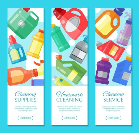 Cleaning supplies banner household bottle plastic liquid detergent product vector illustration. Cleaner disinfect equipment packaging. Cleanup care housekeeping fluid container. Housework tools. Reklamní fotografie - 124955201
