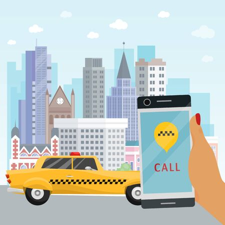 Taxi banner online mobile application order taxi service hand with phone vector illustration. Traffic transportation location yellow car business. Delivery vehicle search application. Ilustracja