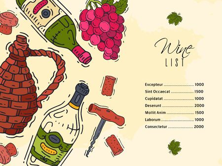 Wine list taste club banner vector illustrations glass wine grape bottle. Tasting events menu. Vector alcohol drink background traditional food champagne. Wineglass business celebrate invitation card. Ilustracja