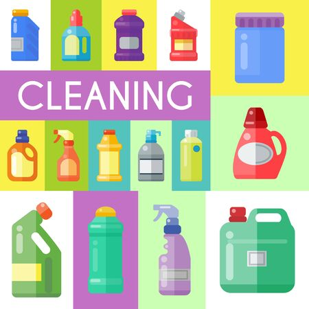 Cleaning products poster household bottle plastic liquid detergent product vector illustration. Cleaner disinfect equipment packaging. Cleanup care housekeeping fluid container. Housework supplies Ilustracja