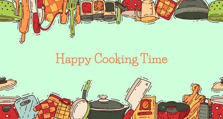 Temps de cuisson équipement d'affiche vecteur ustensiles de cuisine ou ustensiles de cuisine pour la nourriture avec ustensiles de cuisine et illustration de la plaque. Vaisselle et poêle ou marmite culinaire. Appareil ménager. Vecteurs