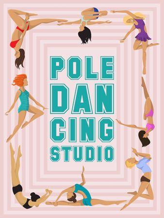 Woman pole dancing studio poster sexy female vector illustration. Professional sensuality human strong performance gymnastics lady. Dancer girls fitness pose exercising poledance school club. Illustration