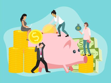 Save money people concept vector illustration. Saving dollar coin pig. Money charcters with gold cash in piggybank. Accounting earnings economic investing business man and woman.