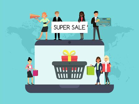 Shopping people on laptop online website vector concept marketing and digital marketing. Smartphone market customer service delivery. Screen discount purchase with men and women. Ilustracja
