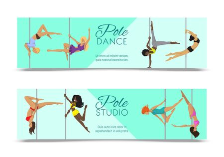 Woman pole dancing studio banner sexy female vector illustration. Professional sensuality human strong performance gymnastics lady. Dancer girls fitness pose exercising poledance school club. Ilustracja