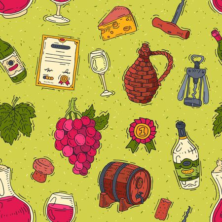 Wine vector alcohol in winebottles of winery and wineglass with grape or grapevine illustration set of wine cellar background
