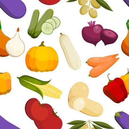 vector vegetables healthy tomato, carrot, potato vegetarians pumpkin organic food modern vegetably webshop illustration vegetated symbols background Illustration