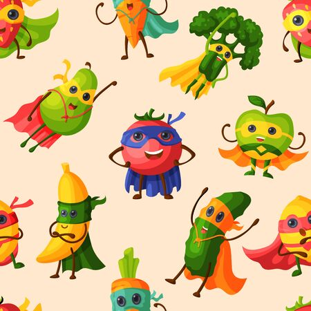Superhero fruits vector fruity cartoon character of super hero expression vegetables with funny apple banana or pepper in mask illustration. Fruitful vegetarian diet background