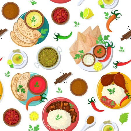 Indian food vector India cuisine and asian dishes masala with spicy rice and tandoori chicken illustration set of meal naan in bowl in Asia, isolated on white background.