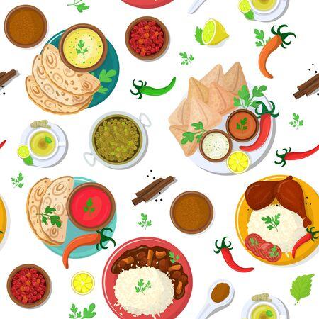 Indischer Lebensmittelvektor Indien-Küche und asiatische Gerichte Masala mit würzigem Reis und Tandoori-Hühnchen-Illustrationssatz Mahlzeit Naan in Schüssel in Asien, lokalisiert auf weißem Hintergrund. Vektorgrafik