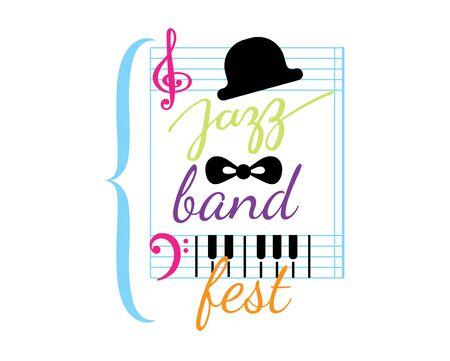 Jazz festival vector music concert  musical instrument logotype musician playing saxophone sound art badge festival performance emblem isolated on white background Stock Illustratie