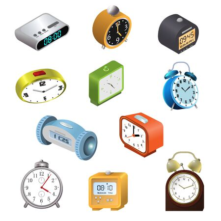Alarm clock vector modern clockface clocked in time with hour or minute arrows 3d realistic illustration childish clocking object timer set isolated on white background Illustration