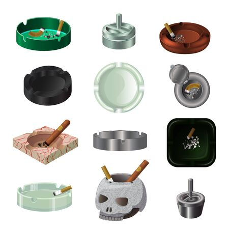 Ashtray vector ash-tray and ash-pot with smoking cigarette nicotine 3d illustration unhealthy smoke addiction habit set of cigar in ash tray and match sketch isolated on white background